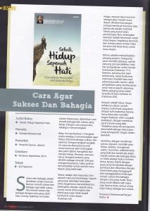 Contoh Resensi saya atas buku Sekali, Hidup Sepenuh Hati di Majalah Motivasi Nasional Milik Andrei Wongso Edisi Nopember